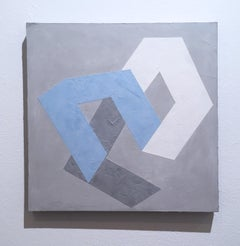 Options I, 2020, Abstract geometry, non-objective, plaster, gray, blue, white