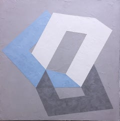 Options II, 2020, Abstract geometry, non-objective, plaster, gray, blue, white