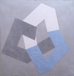 Options VI, 2020, Abstract geometry, non-objective, plaster, gray, blue, white