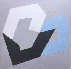Options VIII, 2020, Abstract geometry, non-objective, plaster, gray, blue, white