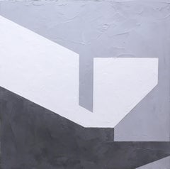 Balancing IV, 2019, Abstract geometry, non-objective, plaster, black, white gray