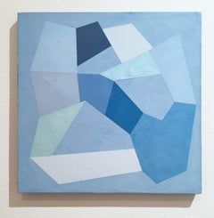 Blue Trace I, 2020, Abstract geometry, non-objective, plaster, blue, white