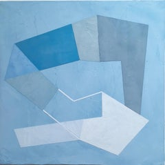 Blue Trace II, 2020, Abstract geometry, non-objective, plaster, blue, white