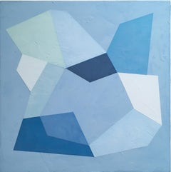 Blue Trace III, 2020, Abstract geometry, non-objective, plaster, blue, white