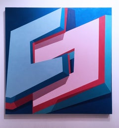 Common Space, 2015, Abstract geometry, non-objective, oil, canvas, blue, pink