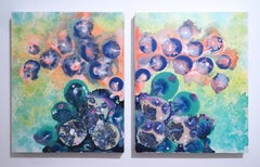 Exo, diptych, 2017, figurative abstraction, purple, orange, blue, green, floral