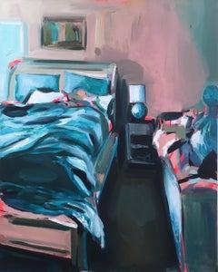 Vacation Nap, oil on canvas, impressionist, pastel, interior, bedroom, pink