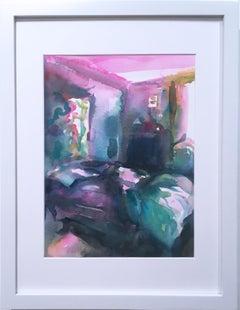 Fall Bedroom, 2018, watercolor, blue, bedroom, interior, frame, pink, sunlight