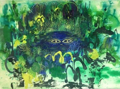 Pond Friend, 2020, watercolor, oil pastel, green, frame, landscape, fantasy