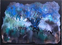 Dark Night, 2020, watercolor, oil pastel, black, frame, landscape, fantasy, blue