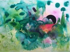 Marooned Lagoon, 2020, watercolor, oil pastel, green, frame, landscape, fantasy