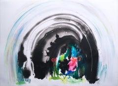 Bijoux Cave, 2020, watercolor, oil pastel, green, landscape, graphite, fantasy