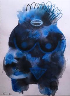 Blue Venus I, 2020, watercolor, oil pastel, blue, goddess, ink, fantasy