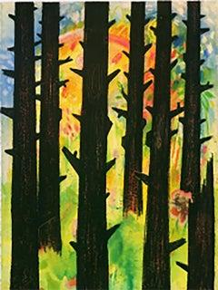 Hopeful Spring, 2020, watercolor, oil pastel, green, landscape, fantasy, trees