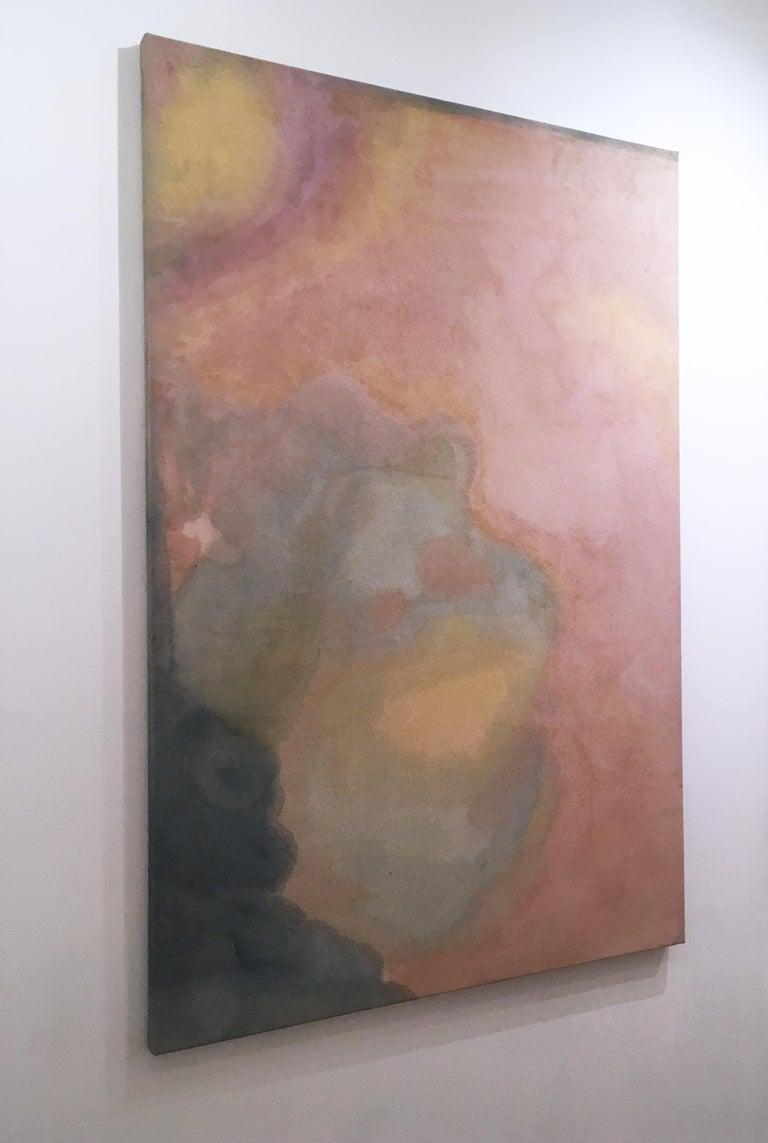 Paisagem do Ventre (Wombly Landscape) natural hand-dyed canvas, avocado, tumeric For Sale 1