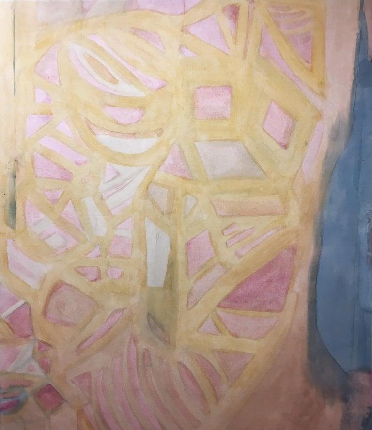 Coração Aberto (Heart Opened), 2020, natural hand-dyed canvas, avocado, tumeric - Art by Talita do Nascimento Cabral