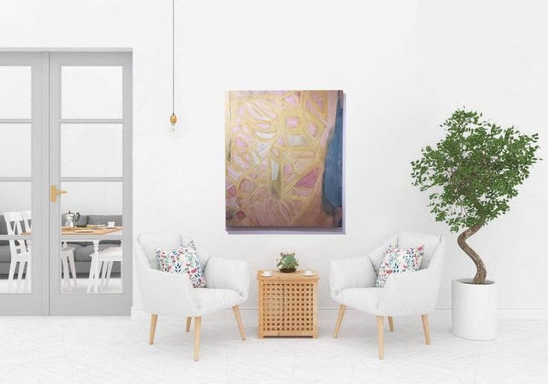 Coração Aberto (Heart Opened), 2020, natural hand-dyed canvas, avocado, tumeric - Contemporary Art by Talita do Nascimento Cabral