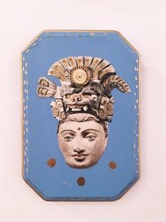 Idol, Idol, 2020, collage, blue, acrylic, wood, figurative, gold, headdress