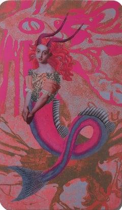 Capricorn, 2018, collage, print, figurative, gold, tarot, horoscope, metallic
