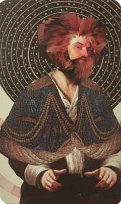 Leo, 2018, collage, print, figurative, gold, tarot, horoscope, metallic edge