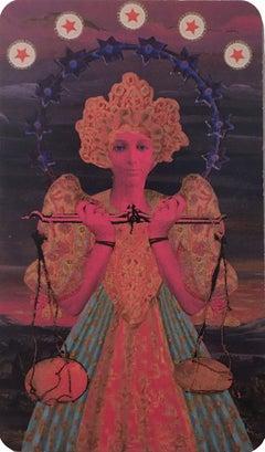Libra, 2018, collage, print, figurative, gold, tarot, horoscope, metallic edge