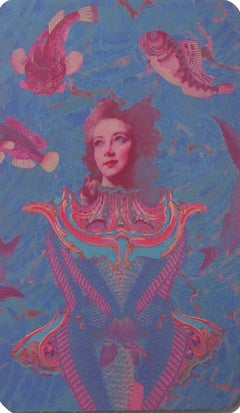 Pisces, 2018, collage, print, figurative, gold, tarot, horoscope, metallic edge