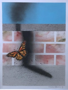 Untitled, (Butterfly), 2018, Monarch, sky blue & brick surreal cityscape, paper
