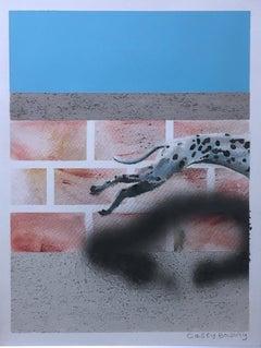 Untitled, (Dog), 2018, Dalmatian dog, sky blue & brick cityscape, surreal, paper