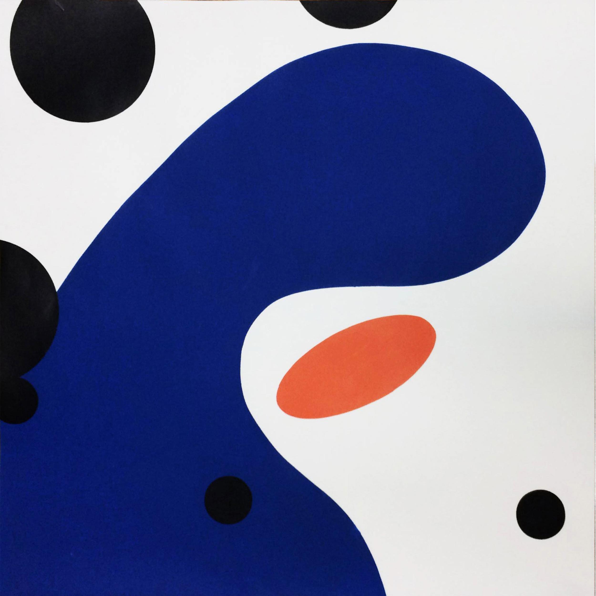 Cooperative Kinetics #16, blue, orange & black abstract monoprint on paper