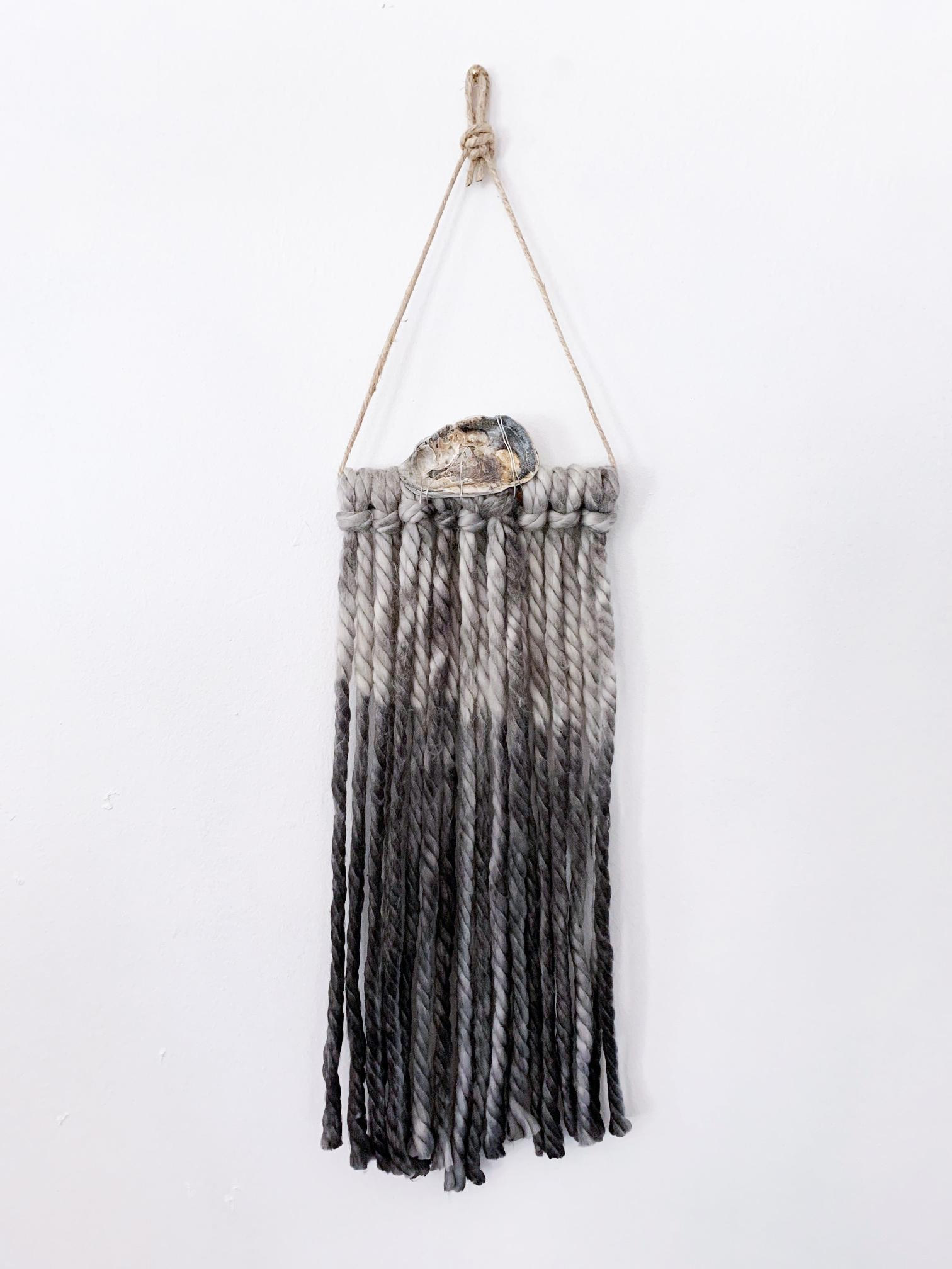 Shadow Dive, 2020, yarn, oyster, wire, copper, jute decorative wall hanging