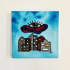 Eye Above 1, 2020, embroidery, eye, turquoise blue, red, city