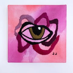 Eye Above 2, 2020, embroidery, eye, pink, red