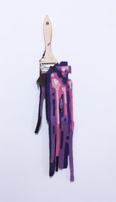 Tool of the Trade Brush #1, 2018, paint brush, drips, graffiti, purple, pink