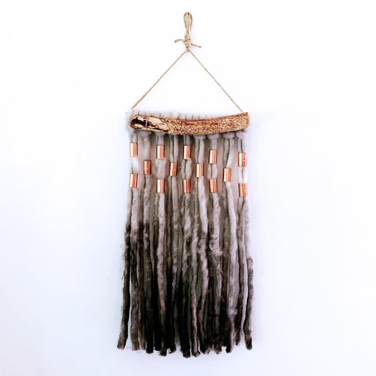 Wash Over, 2020, hand dyed Alpaca wool, metallic copper decorative wall hanging - Mixed Media Art by Jacie Jane D'Agostino