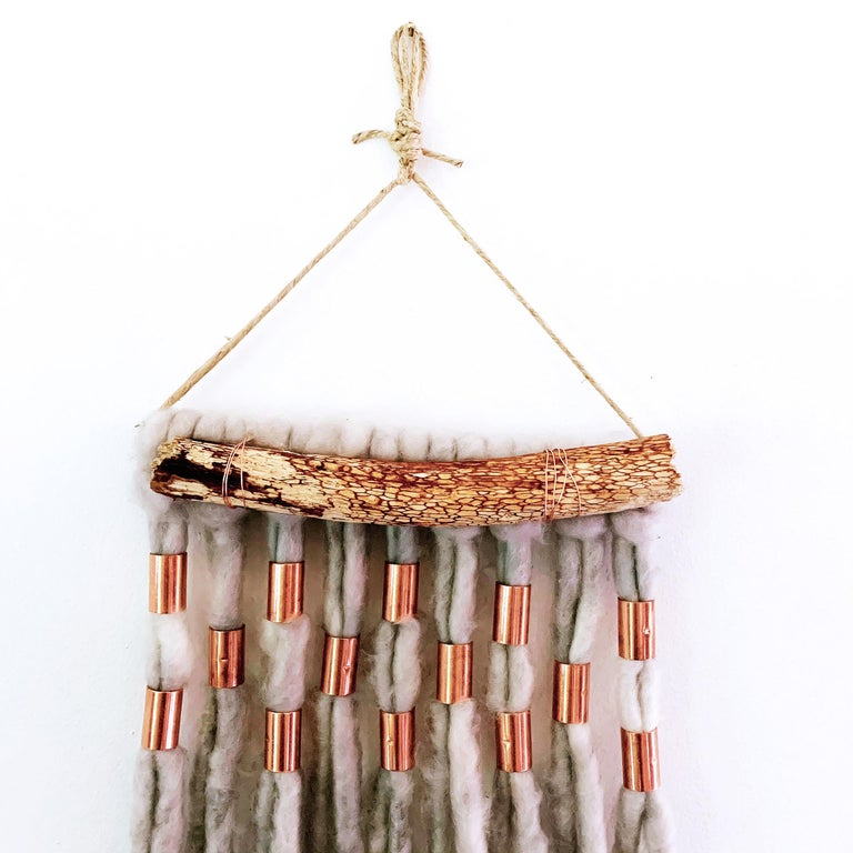 Wash Over, 2020, hand dyed Alpaca wool, metallic copper decorative wall hanging - Folk Art Mixed Media Art by Jacie Jane D'Agostino
