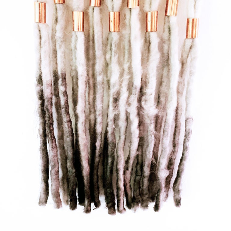 Wash Over, 2020, hand dyed Alpaca wool, metallic copper decorative wall hanging For Sale 1