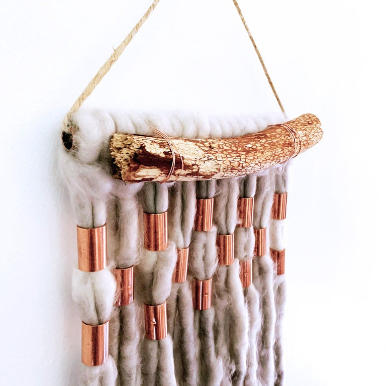 Wash Over, 2020, hand dyed Alpaca wool, metallic copper decorative wall hanging For Sale 2