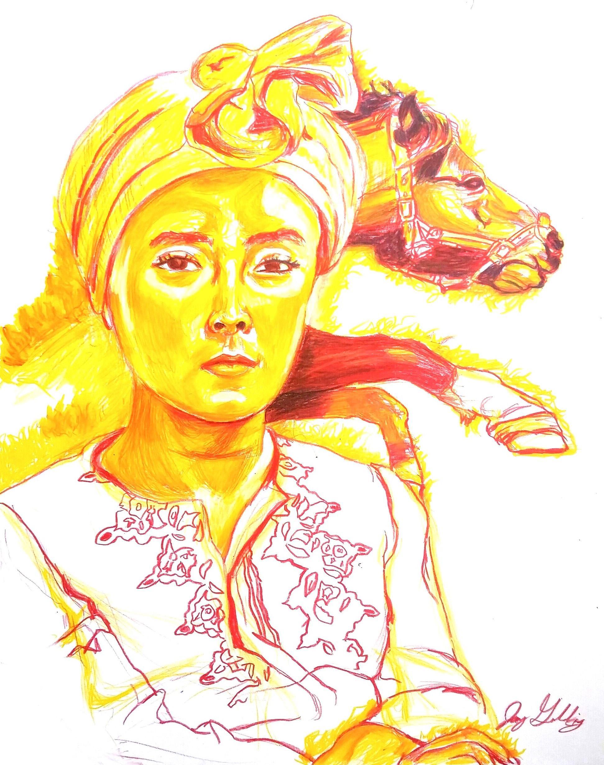 Fire (Horse Spirit), 2017, figurative, yellow, orange, drawing, tribal, MarYah