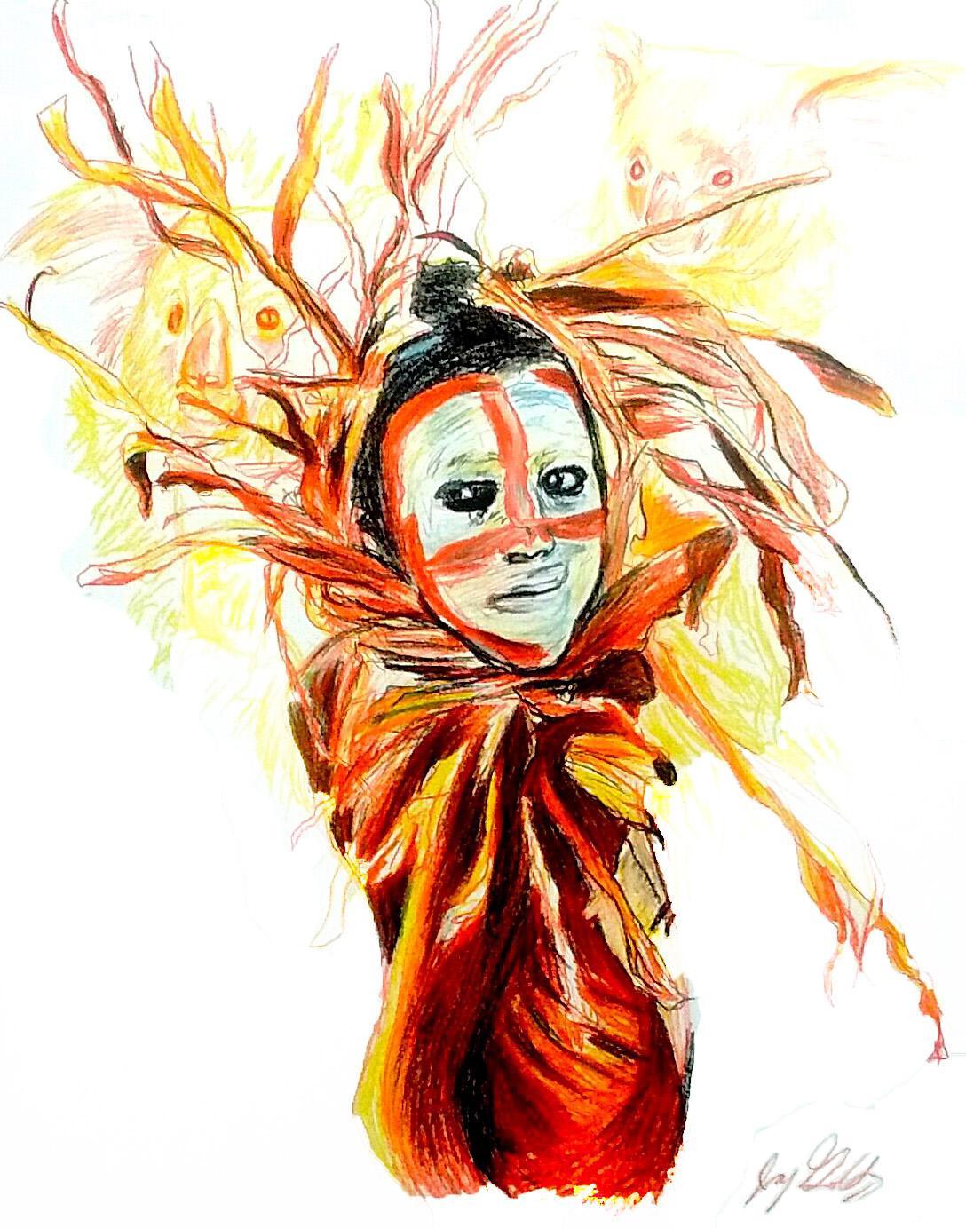 Fire (Koala Spirit), 2017, figurative, yellow, orange, drawing, tribal, MarYah