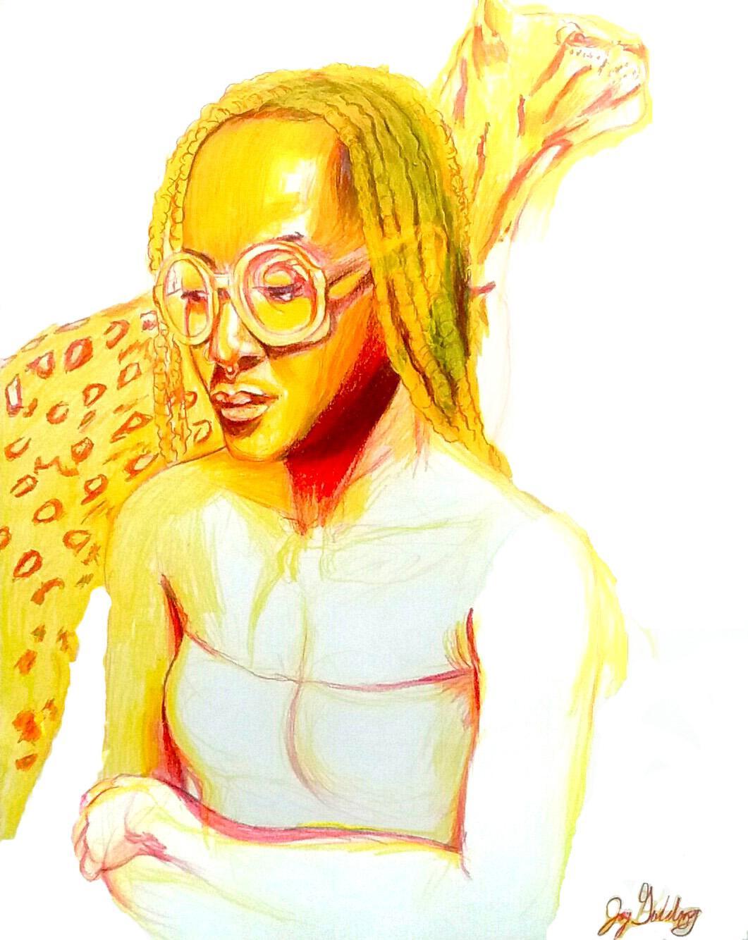 Fire (Ocelot Spirit), 2017, figurative, yellow, orange, drawing, tribal, MarYah