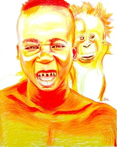 Fire (Orangutan Spirit), 2017, figurative, orange, drawing, tribal, MarYah