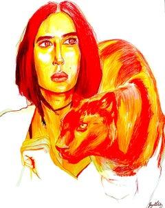 Fire (Panther Spirit), 2017, figurative, orange, yellow, drawing, tribal, MarYah