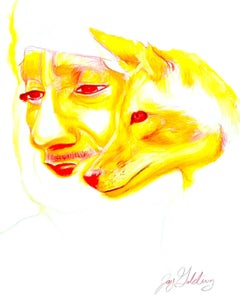 Fire (Wolf Spirit), 2017, figurative, orange, yellow, drawing, tribal, MarYah