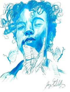 Water (Butterfly Spirit), 2017, figurative, blue, drawing, tribal, MarYah