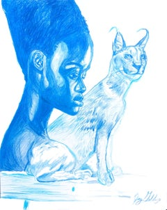 Water (Caracal Spirit), 2017, figurative, blue, drawing, tribal, MarYah