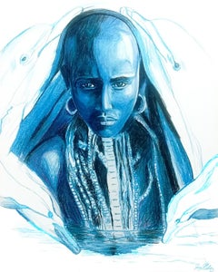 Water (Dolphin Spirit), 2017, figurative, blue, drawing, tribal, MarYah