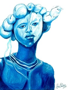Water (Dove Spirit), 2017, figurative, blue, drawing, tribal, MarYah