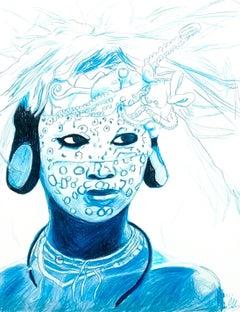 Water (Octopus Spirit), 2017, figurative, blue, drawing, tribal, MarYah