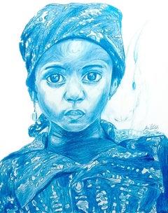 Water (Rabbit Spirit), 2017, figurative, blue, drawing, tribal, MarYah