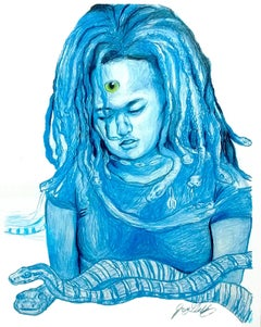 Water (Serpent Spirit), 2017, figurative, blue, drawing, tribal, MarYah